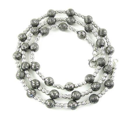 925 black & white sterling silver diamond cut bead chain 18 inch 5.75mm