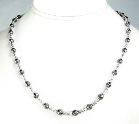 925 black & white sterling silver diamond cut bead chain 20 inch 4.75mm