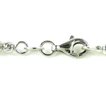 925 black & white sterling silver diamond cut bead chain 24 inch 4.75mm