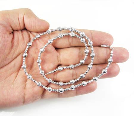 925 white sterling silver diamond cut bead chain 20 inch 5.75mm