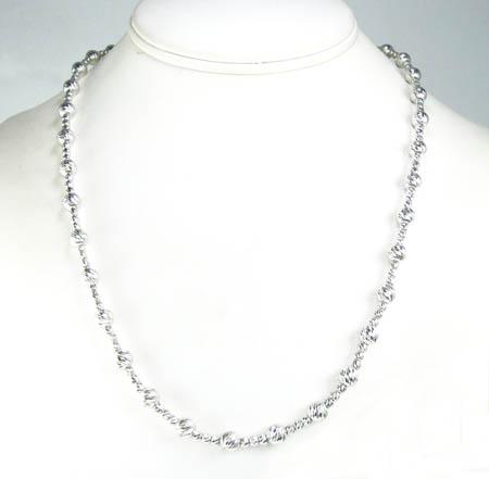 925 white sterling silver diamond cut bead chain 24 inch 5.75mm
