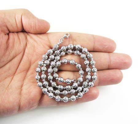 14k white gold diamond cut bead chain 18-30 inch 5.50mm