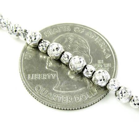 14k white gold diamond cut bead chain 16-30 inch 4.75mm