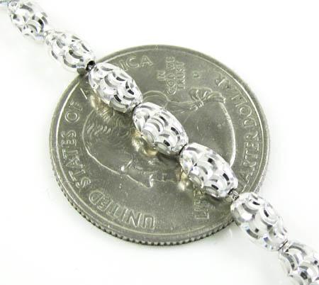 14k white gold diamond cut oval bead chain 16-30 inch 3.75mm