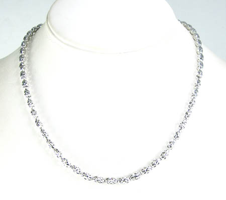 14k white gold diamond cut oval bead chain 16-30 inch 3.75mm