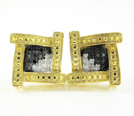 925 yellow sterling silver canary white & black diamond earrings 0.25ct