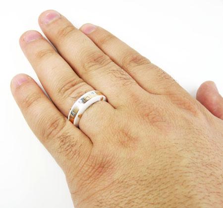 Baraka Diamond 18K White Rose Gold White Ceramic Wedding Band