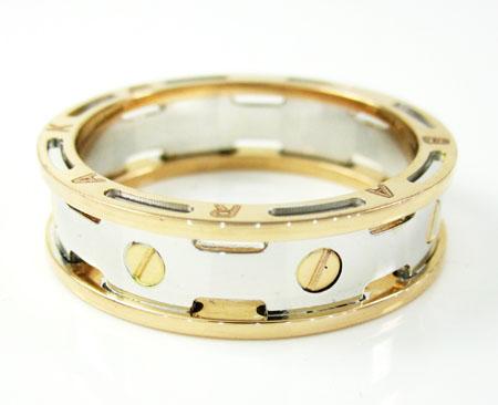 Mens baraka 18k white & rose gold wedding band screw ring
