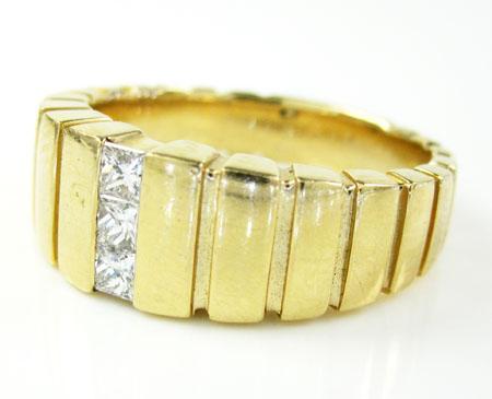 Mens 14k yellow gold diamond fashion ring 0.34ct