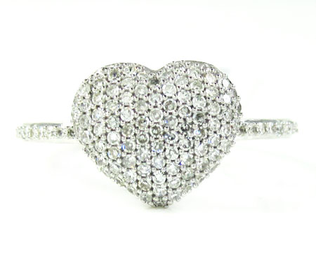 Ladies 10k white gold diamond heart ring 0.45ct