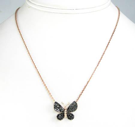 18k rose gold white & black diamond butterfly pendant 0.64ct