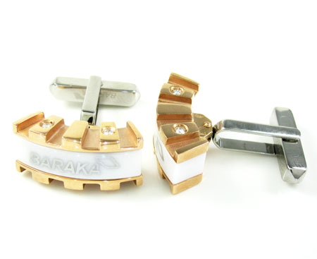 Mens baraka 18k rose & white gold & white ceramic diamond cufflinks 0.16ct