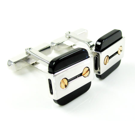 Mens baraka 18k rose & white gold gold & black ceramic cufflinks