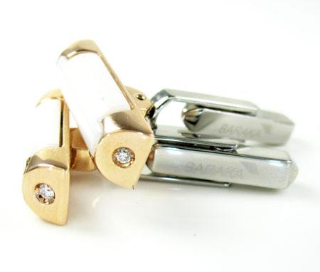 Mens baraka 18k rose & white gold & white ceramic diamond cufflinks 0.08ct