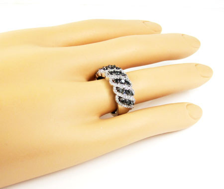 Ladies 14k white gold black & white diamond fashion ring 1.15ct