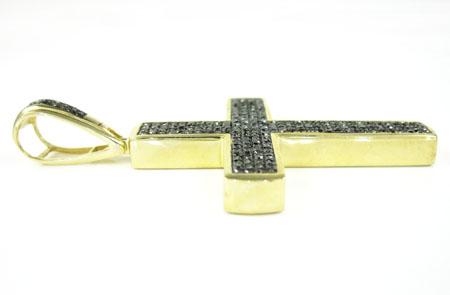 Mens 14k gold black diamond cross 1.15ct