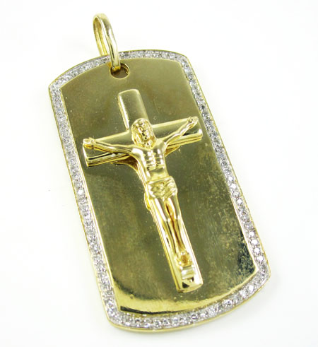 Mens 10k gold diamond jesus cross dog tag pendant 055ct aloadofball
