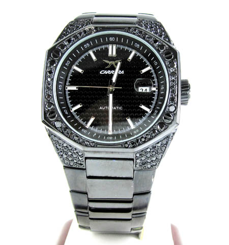 Mens full black diamond case carrera automatic watch 4.00ct