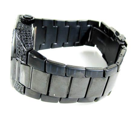 Mens full black diamond case carrera automatic watch 4.00ct