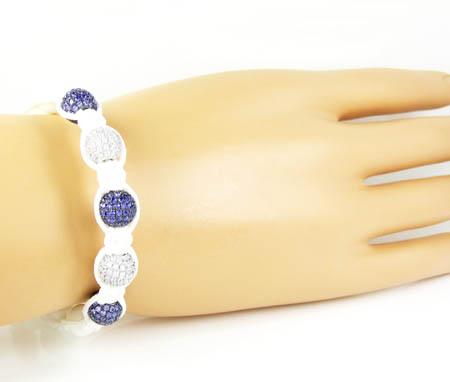 925 white silver purple & white cz macramé smooth bead rope bracelet 5.00ct