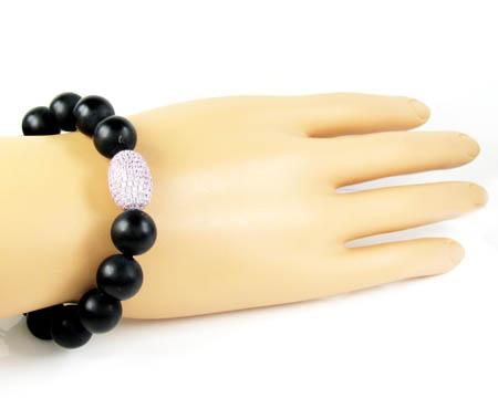 925 sterling silver pink cz black smooth onyx macramé bead rope bracelet 1.50ct