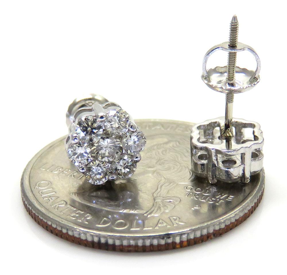 7mm 14k white, yellow, rose gold diamond cluster earrings 1.00ct