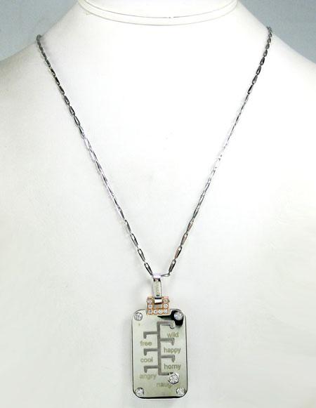 Mens baraka 18k solid rose & white gold mood & day diamond pendant 0.68ct