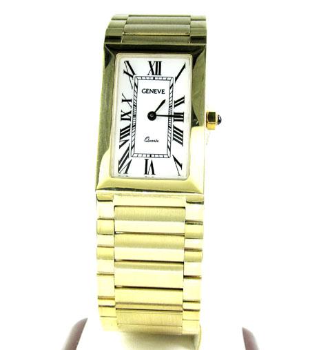 Mens 14k yellow gold geneve quartz watch