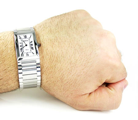 Mens 14k white gold geneve quartz watch