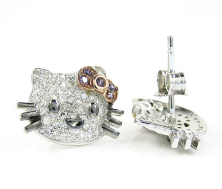 Ladies 925 sterling silver hello kitty diamond earrings 0.50ct