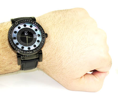 Techno com kc black diamond pearl watch 4.00ct