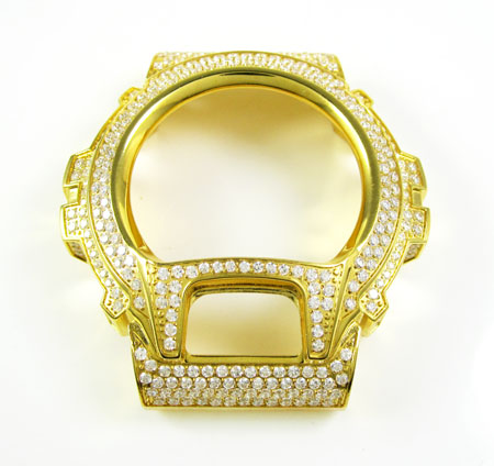 Yellow stainless steel white cz g-shock case dw-6900 5.00ct