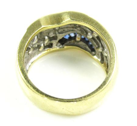 Ladies 14k yellow gold baguette blue sapphire & diamond cocktail ring 1.50ct
