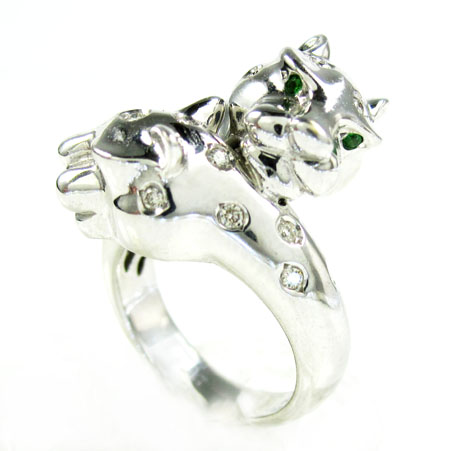 Ladies 18k white gold diamond & sapphire double headed panther ring 0.42ct