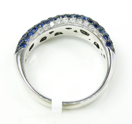 Ladies 14k white gold white diamond  & blue sapphire fashion ring 1.61ct