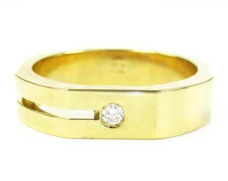 Mens baraka 18k yellow gold diamond ring 0.07ct