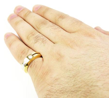 Mens baraka 18k yellow gold diamond ring 0.10ct