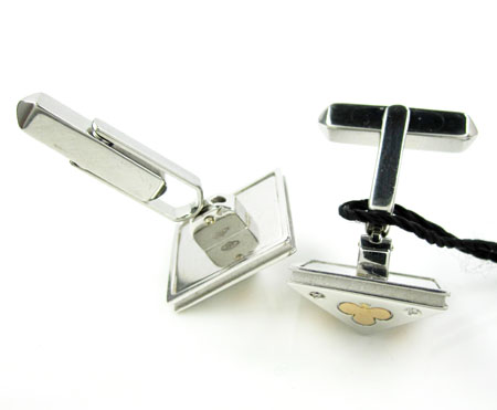 18k solid rose & white gold suit of cards cufflinks 0.16ct