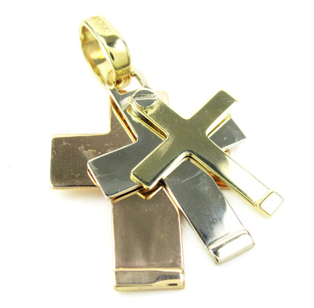 Mens baraka 18k three tone triple layered cross