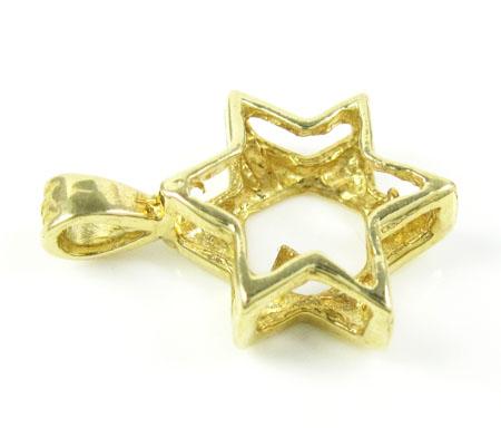 14k yellow gold jewish star of david pendant