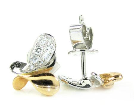 Ladies 18k white & rose gold diamond butterfly earrings 0.23ct