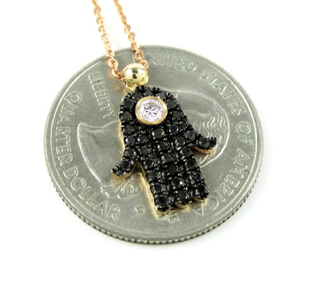 Ladies 14k solid rose gold black diamond hamsa pendant with chain 0.47ct