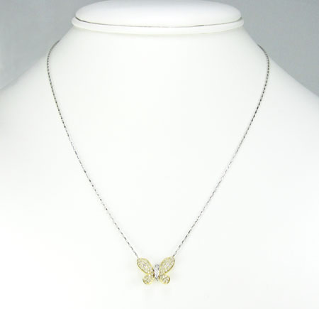 Ladies 18k solid yellow & white gold diamond butterfly pendant with chain 0.55ct
