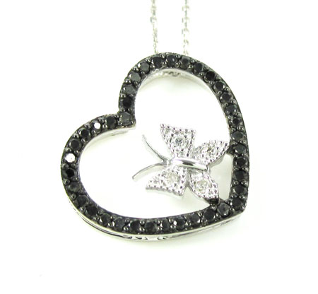 Ladies 14k solid white gold black & white diamond butterfly heart pendant with chain 0.45ct