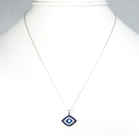 Ladies 14k solid white gold blue & white diamond evil eye pendant with chain 0.30ct
