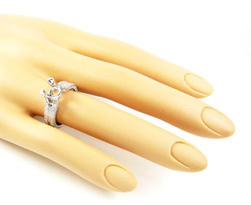 Ladies 18k white gold round & baguette diamond semi mount ring 1.28ct