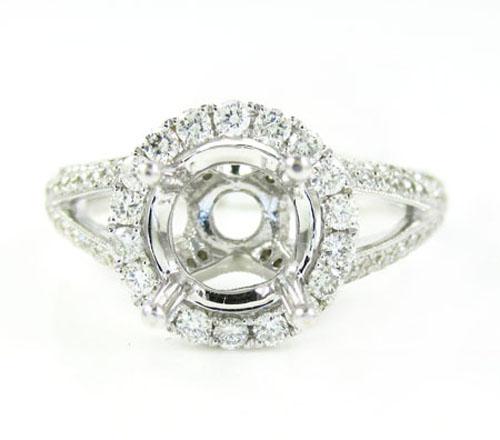 Ladies 18k white gold round diamond semi mount ring 1.10ct