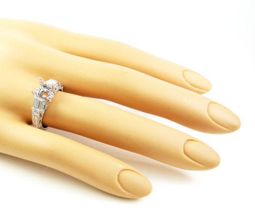 Ladies 14k white gold round & baguette diamond semi mount ring 0.62ct