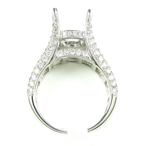 Ladies 18k white gold round & baguette diamond semi mount ring 2.04ct