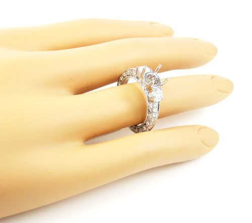 Ladies 18k white gold round diamond semi mount ring 1.36ct